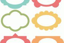 Vystřihovánky Štítky / Jmenovky / Bordury / Rámečky / štítky, jmenovky, popisky, visačky na dárky, přáníčka, nálepky, záložky, kartičky, obálky, rámečky, bordury, ohraničení, pozadí, celoplošné vystřihovánky