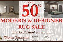 Modern & Designer Rug Sale 50 % Off Melbourne / Woven Treasures offers upto 50 percent off on modern and designer rugs.