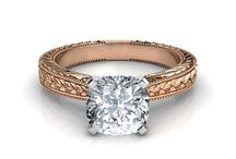 Cushioni Cut Solitaire Diamond Engagement Rings / 0