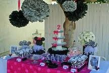 Kynslees First Birthday Party / I am starting to Plan my daughters first birthday party. I am thinking of a Minnie Mouse/ zebra print theme. :) baby pink, black, and white :)  / by Breanna DeSelm