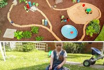 Outdoor Kid Spaces! / Ideas and inspiration for creating an amazing outdoor area for the kids to play in!  Cars, trains, construction sites, water/sand tables, dinosaurs, tents/teepees, etc!