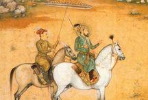 2personnages à cheval fond ocre jaune