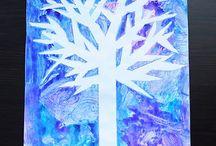 Talvinen puu vesivärityö