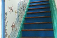 deco escalier bleu