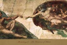 Michelangelo Buonarroti e suas pinturas (Renascimento) Italiano