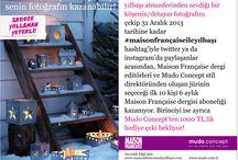 #maisonfrançaiseileyılbaşı yarışması / #maisonfrançaiseileyılbaşı Yarışması, katılımcıların sadece twitter ve instagram üzerinden 01 – 31 Aralık 2013 tarihleri arasında katılabilecekleri ve Doğan Burda Dergi Yayıncılık ve Pazarlama A.Ş. (DB) ve Mudo Satış Mağazaları A.Ş. işbirliği çerçevesinde gerçekleştirilen fotoğraf paylaşımına dayalı ödüllü bir yarışmadır.  Her bir katılımcı aşağıda belirtilen şartlar dahilinde işbu yarışmaya katılabilir. Ayrıntılı bilgi için: www.maisonfrancaiseileyilbasi.com