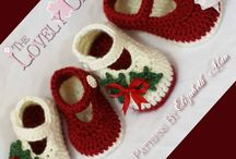 Crochet baby booties and hats