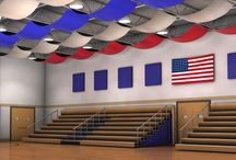 Acoustic Baffle Systems / Use wall or ceiling baffles in large recreational facilities to reduce noise and reverberation. Design your baffles to compliment athletic facilities and other large venues.
