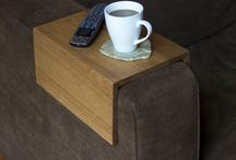 """Take it easy"" arm rest table / This clever arm rest table is constructed with 100% solid oak, utilized from reclaimed church pews. Great for a morning of lounging and drinking a cup of coffee or two..."