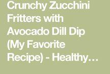 zucchini fritters w avocado dill dip
