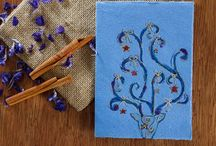 Piccia's handmade cards with dried flowers / Piccia Neri makes unique handpainted greetings cards with an additional sensory experience of dried petals and spices.