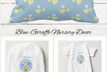 Nursery Decor Giraffe blue