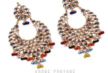 Exclusive Kundan Earrings by Adobe Couture / Kundan jewellery is also called engraved jewellery and is unique and a kind in itself. Considered to be a traditional jewellery of India, it is used in many traditional and auspicious occasions, like marriages and festival celebrations.