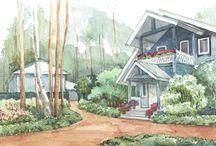 Landscape graphics. Ландшафтные иллюстрации выполненные архитекторами СпецПаркДизайн. / watercolors, liner graphics, Photoshop, SketchUp illustrations made by SpetsParkDesign architects.