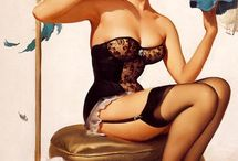 Pinup art / Artistic pinup drawings in the style of Gil Elvgren and Alberto Vargas.