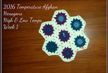 Crochet ~ 2016 Temperature Afghans / Temperature afghans....crocheting either one row, or one granny/hexagon every day for the year, using the daily temperatures to decide the colors.