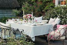 Al fresco dining / Eating outside - or just sitting.  Stylish settings.