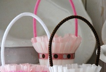 Crepe Paper Baskets and Flowers