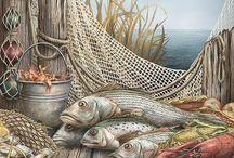 la pesca con sfondo marino