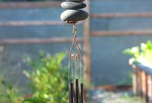 Beach Stones / Beach stone art for the home and garden. Wind chimes and freestanding sculptures made from natural Pacific beach stones.