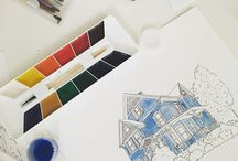 house portrait watercolor
