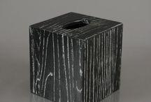 Modern Ebony Holz Abfalleimer und Tissue-Box mit markanten Korn-Muster