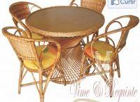 Conjunto de Mesa e Cadeira para Jantar em Vime Natural RJ