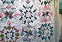 "Swoon / Swoon is a traditional block on steroids.  The block makes up to about 20""x 20""  It fascinates me the way the same block can look so different based on fabric choice. Pattern by Camille Roskelley at Thimble Blossoms"