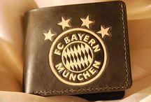 Bayern Munich Black leather wallet ,Football wallet, Lewandowski,Veg tanned leather,custom logo .