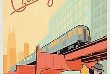Train travel posters