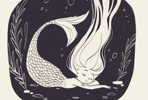 Mermaids - Drawn and Painted