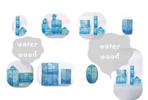 """TOYS woodblocks """"WATER WOOD"""" / hand painted woodblocks 22 pieces"""