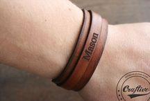 Leather Bracelets / PERSONALIZED LEATHER BRACELET * LEATHER ANNIVERVERSARY GIFTS