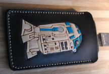 Star WarsPhone case, veg tan leather, handcrafted, custom, personalized, R 2 D 2