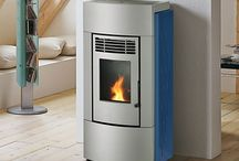Blue Wood Pellet Stoves and interior design inspiration / Pictures of Blue wood pellet stoves. Pictures of wood pellet stoves that compliment Blue as an interior design colour.