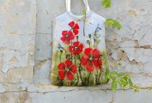 felted Wool Tote With Red Popies OOAK floral by