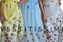 Vestito donna elegante e lungo con fantasia a farfalle