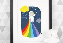 Paper Joy Art Prints... / Art prints and poster. Wall art designs. Bright and colourful illustrations. Happy rainbow art.