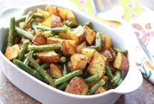 Roasted potatoes with green beans