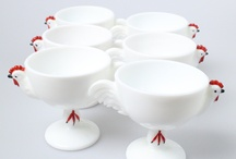 MILK GLASS Punch bowls