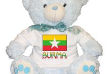 Burma or Myanmar by Auntie Shoe / Stuff about Burma, aka, Myanmar. Includes designs by Auntie Shoe using the Burmese Flag on T-shirts, home decore and more.