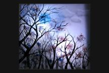 Moon light, ליל ירח / Ligted picture, fused and painting on glass, measure 30x30 cm  d 3 mm , Spectrum glass, ,תמונה מוארת כוללת גוף תאורה