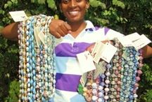 Beads from Injabulo / We sell fabulous hand made paper beads and accessories from the lovely Mothers for All project in Botswana and Hand painted ceramic beads from Earth Butter Beads in Cape Town. Both projects that are giving women the chance to empower themselves, better their lives and make a real difference to the future of their children.