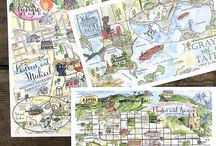 Wedding Maps / Custom Watercolor Wedding Maps and Weekend Itineraries. Eight21 Studios - Chicago