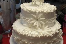 White Flowery Baby Shower Cake