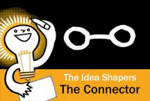 The Idea Shapers: The Connector / In her 2016 book The Idea Shapers, Brandy Agerbeck makes visual thinking attainable and enjoyable through a set of 24 Idea Shapers. The Connector is the first visual thinking concept in the third step, CONNECT + CONTAIN.