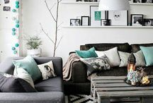 Black and torquoise and white living room