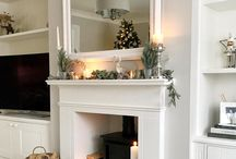 Fireplace/mirror