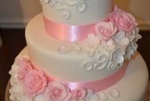Rose and White Wedding Cake