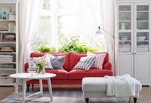 salon rouge blanc